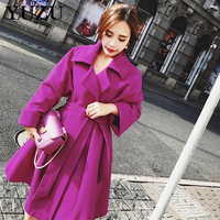Purple Wool Coat Cardigan Women Winter Jacket Noble Gorgeous Party Dress Coats Warm Plus Size Retro Long Coat Office Style