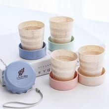 Для путешествий портативный пшеничной соломы Кофе Чай складные кружки с крышками крышка Телескопический для кемпинга питьевой воды чайная чашка 1 шт
