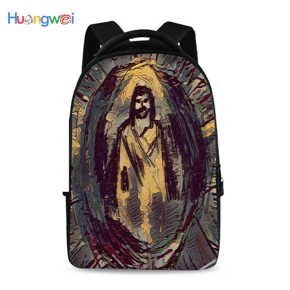 17 inch computer backpack college student package travel leisure backpack soft shoulders Jesus pattern laptop bag women fashion backpack college student travel bag satchel schoolbag large capacity ladies pretty shoulders package birthday gift