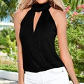 OK Fashion 2017 Women Hollow Sleeveless Vests Casual Slim Tank Tops Sexy Halter Deep V Neck Solid Summer Blusas Plus Size Tops