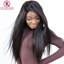 Pre Plucked Full Lace Human Hair Wigs For Black Women 180% Density Brazilian Straight Lace Wig With baby Hair Rosa Queen Remy