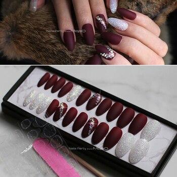 Matowy flash paznokcie sztuki pudełko prasowej na paznokcie bordowy AB rhinestone fałszywe paznokcie szpilki z zakładki samoprzylepne wybrać