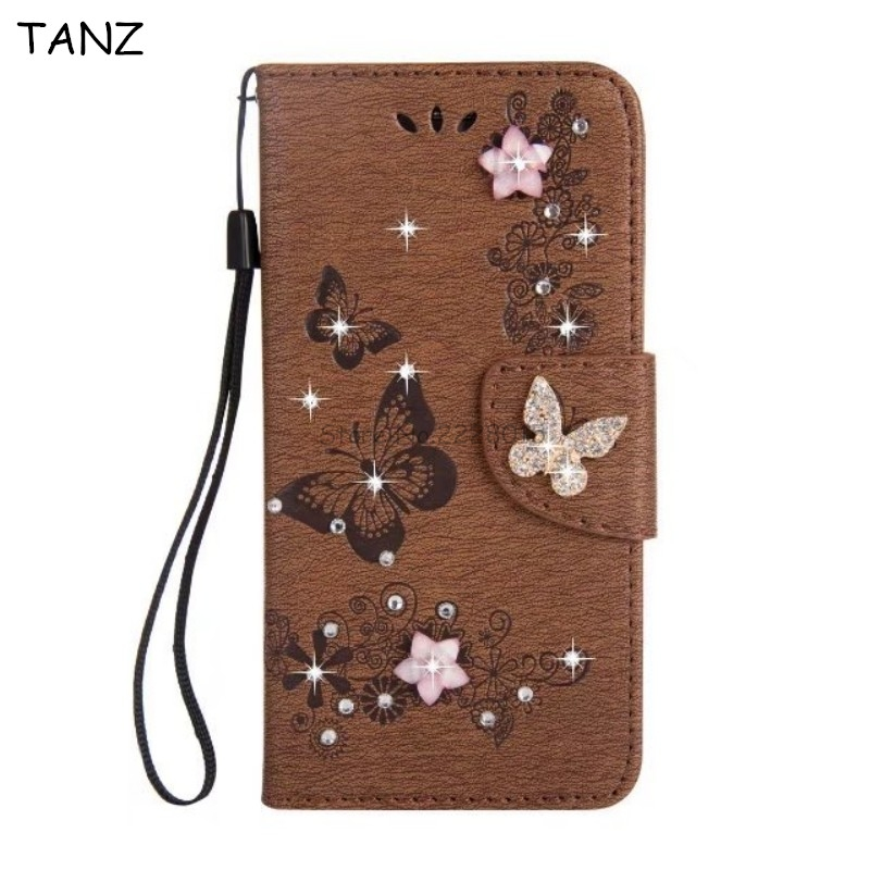 TANZ Bling Diamonds Flowers Luxury Wallet Stand Card Slots Flip PU Leather Phone Cover Case for iphone X 7 6 8 6S plus 5 5S SE
