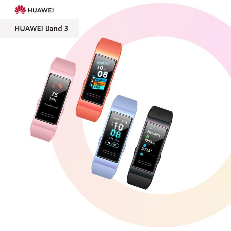 100% Bracelet intelligent Original HUAWEI Band 3, écran tactile AMOLED, surveillance scientifique du sommeil, fréquence cardiaque en temps réel, Bracelet