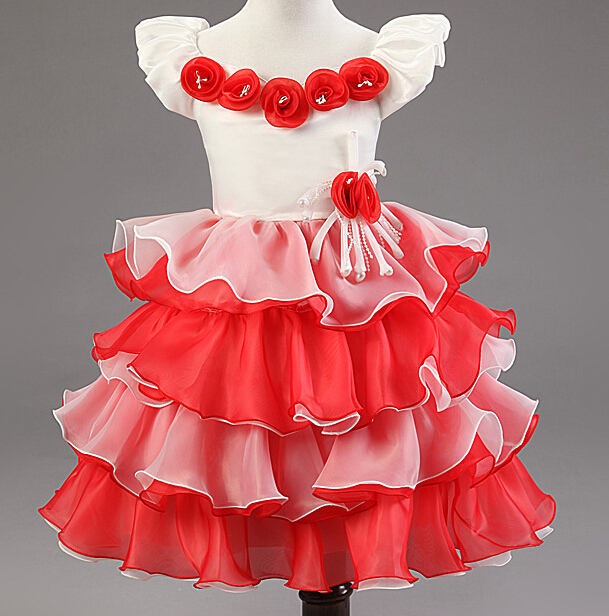 ФОТО 4 colors option Fashion Girl Dress Princess Festa Party Dress Flower Girls' Ball Gown Dress New Brand Summer Dresses