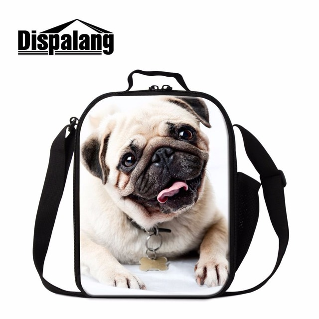 Dispalang cute kids cooler lunch bag bulldog prints portable insulated lunch box thermal picnic lunch carry bag for adult work