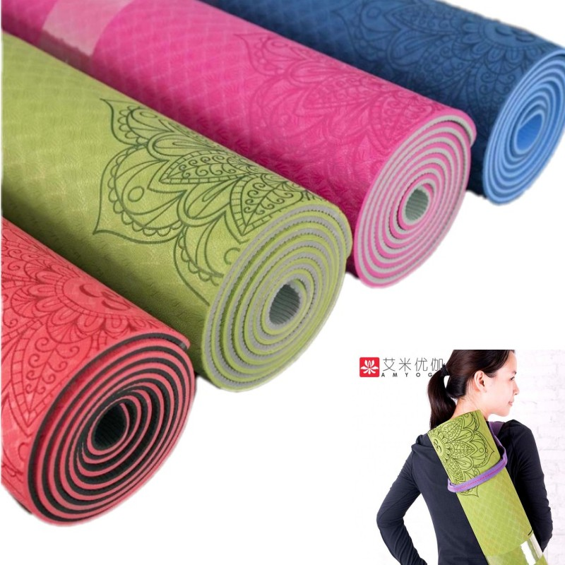 Non-slip TPE Yoga Mat 6mm Fitness Mat for Fitness Yoga Sport Mat Gymnastics Slimming Mats Balanceth Pad Pilates Yogamat jufit 1830 610 6mm tpe yoga mat double sided color exercise sports mats for fitness gym environmental tasteless pad