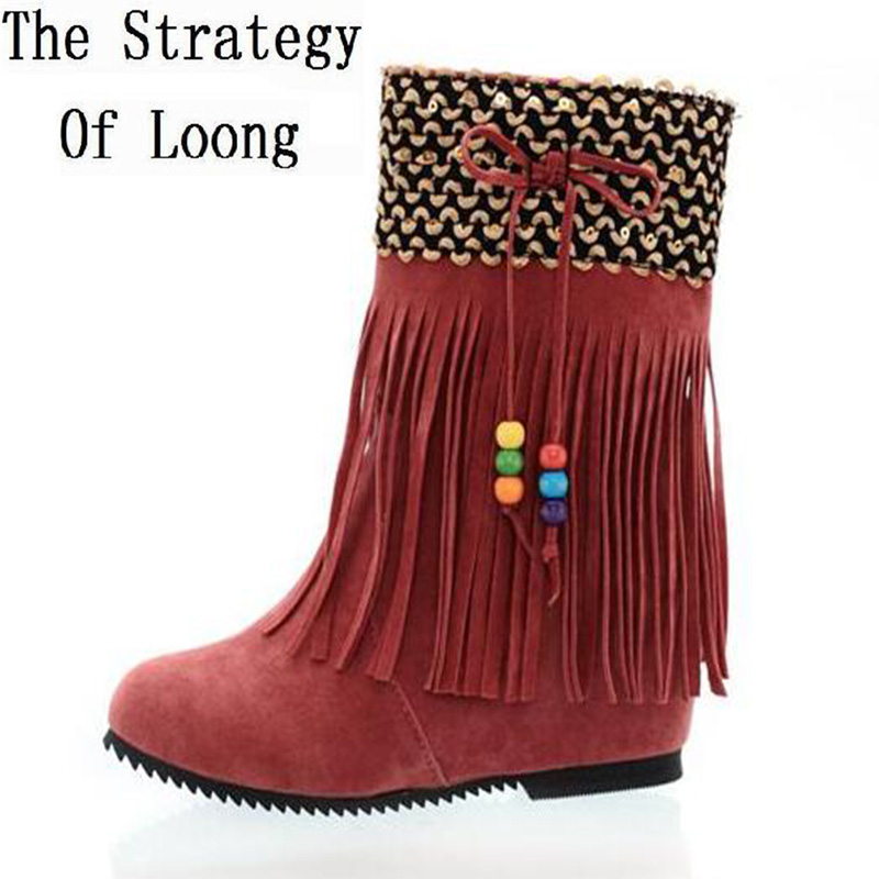 Korean Style Wedges Elevator Flock Tassel Pearl Pendant Spring Autumn Women Ankle Boots Fringe Suede Plus Size 34-43 SXQ0528