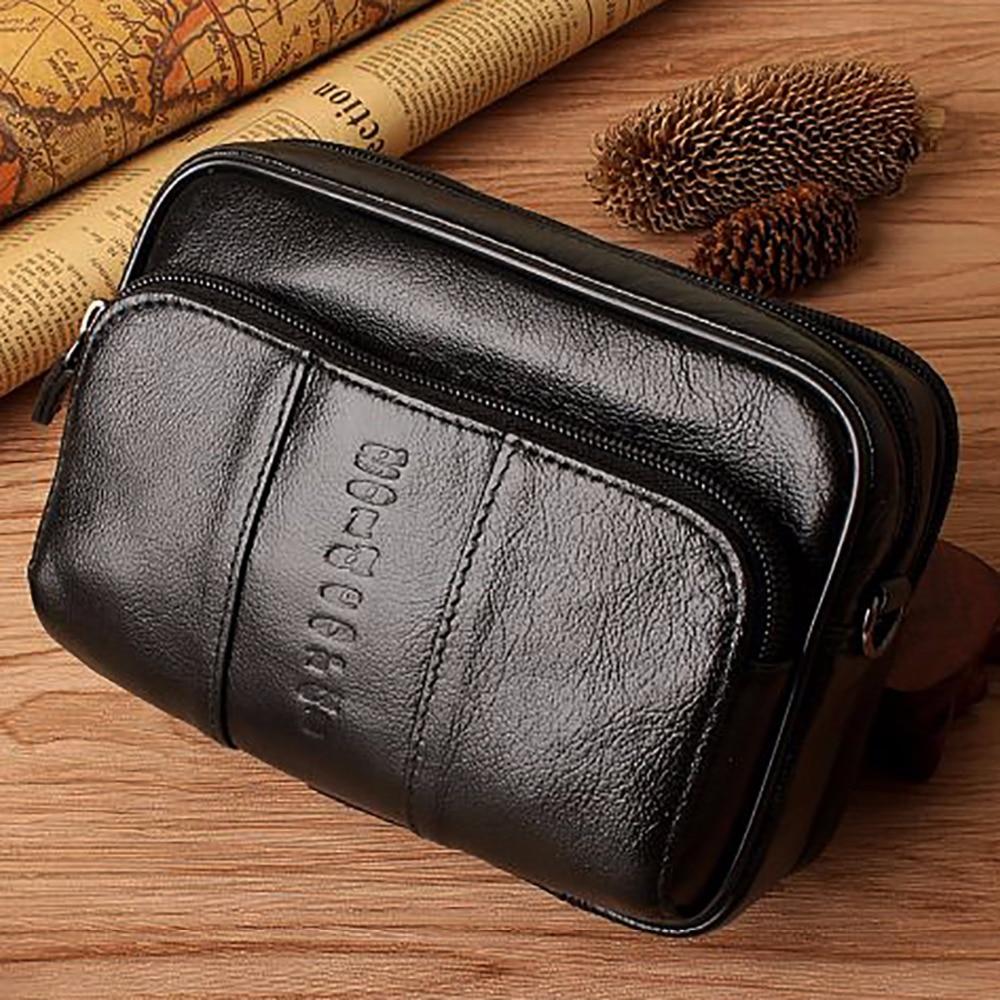 Fashion Men Real Genuine Leather Waist Bag Cell/Mobile Phone Case Purse Skin Belt Fanny Pack Brand Small Messenger Shoulder Bags
