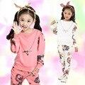 2016 crianças agasalho Outono Roupas Das Meninas Do Esporte Hoodies Impressão Calças Terno de Duas Peças Conjunto de Roupas Crianças 4-13 anos Roupa dos miúdos