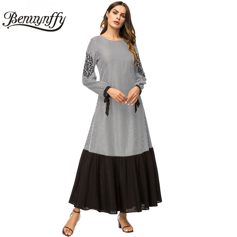 f338958dd3d Benuynffy Women s Plaid Color Block Pleated A Line Dress Autumn Winter Women  Embroidery Long Sleeve Casual