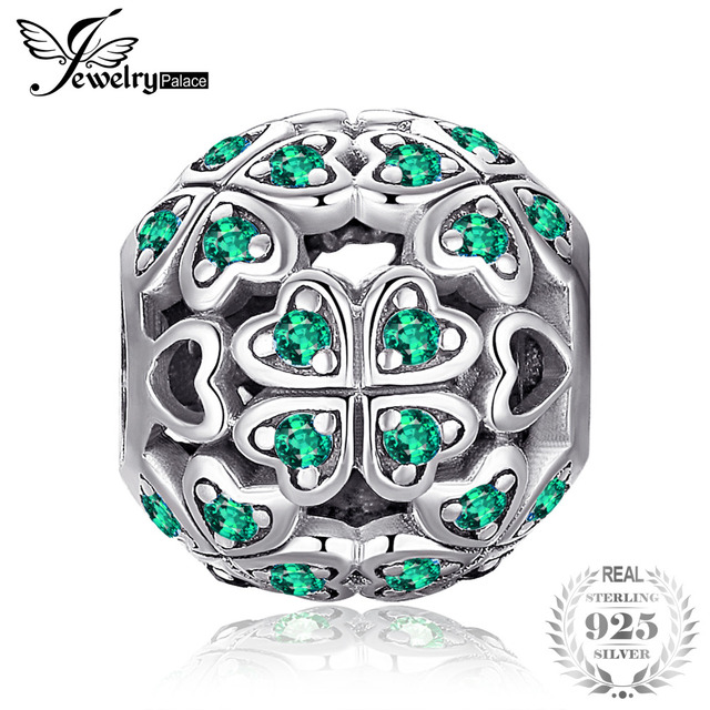 JewelryPalace 925 Sterling Silver Lucky Flora Round Green Cubic Zirconia Four Leaf Clover Heart Charm Beads Fit Bracelets Gifts