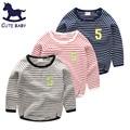 2016 Осень Дети топы бобо вещи блузки для мальчиков Ребенок тройник Мальчиков одежда для Девочек футболки для 6-7-8-9-10Years Полосатая футболка