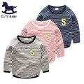 2016 Outono Crianças tops bobo coisas blusas para os meninos tee Criança Meninos roupas Meninas t-shirt para 6-7-8-9-10Years camisa Listrada t