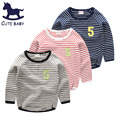 2016Autumn Children tops bobo things blouses for boys Child tee Boys clothes Girls t-shirt for 6-7-8-9-10Years Striped t shirt