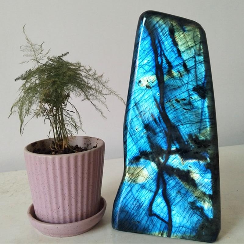 Cristales de piedra de labradorita Natural de 2,2 kg decoración del hogar piedra de Luna Azul pulido chakras piedra sanadora fengshui decoración de la casa-in Piedras from Hogar y Mascotas    1