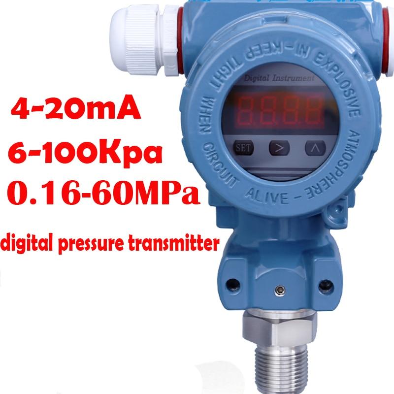 intelligent LED Digital pressure transmitter 4-20mA Diffused Silicon Pressure Transmitter 0.16-60Mpa Head type Pressure Sensor led 4 20ma pressure transmitter