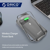 ORICO 10000 mAh Power Bank Wireless Charging Powerbank External Battery Power bank With LED Display for Mobile Phone Tablets