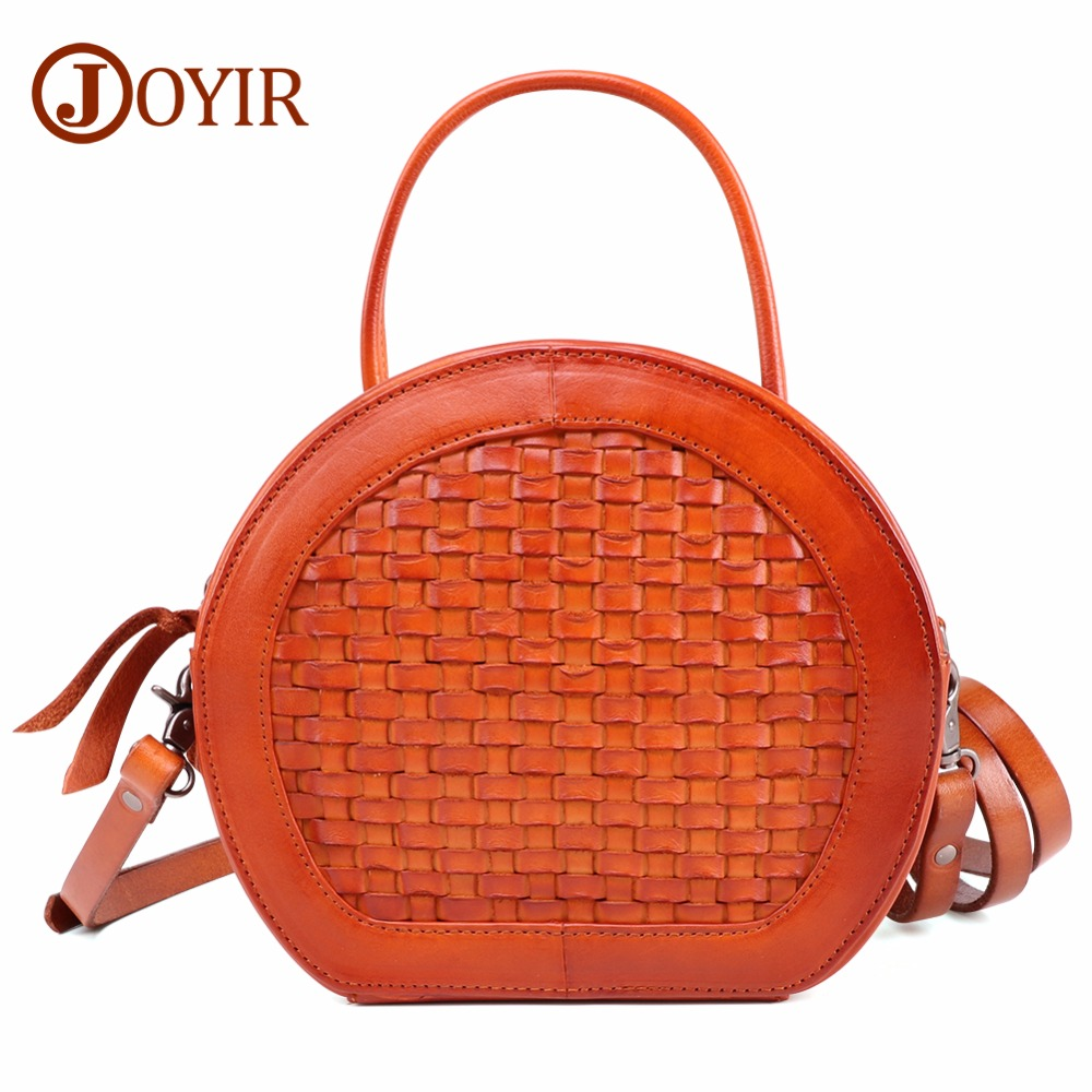 JOYIR Women Bag Female Handbags Genuine Leather Shoulder Bag Crossbody Vintage Weave Tote Handbag Round Cute Small Fashion Bags women bag female handbags leather shoulder bag crossbody famous brand tote handbag round flower black cute small fashion bags