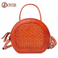 JOYIR Women Bag Female Handbags Genuine Leather Shoulder Crossbody Vintage Weave Tote Handbag Round Cute Small Fashion Bags