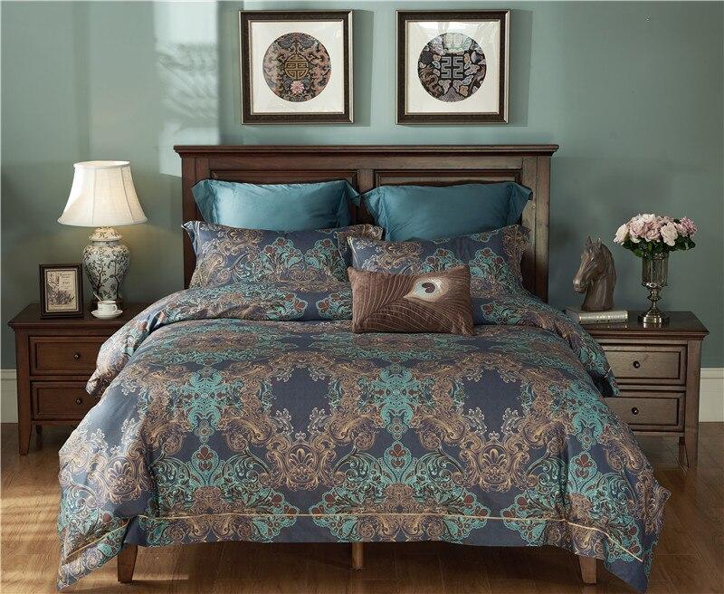 2017 Luxury Bedding Set Queen Size  Egyptian Cotton Sheets Bedclothes Duvet Cover Bed Sheet Set Boho Bedding Bed Linen