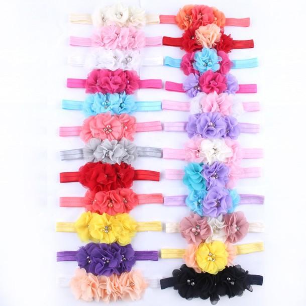 faixa de cabelo headband crianças chiffon 3 flor pérola do diamante anel de acessórios para o cabe