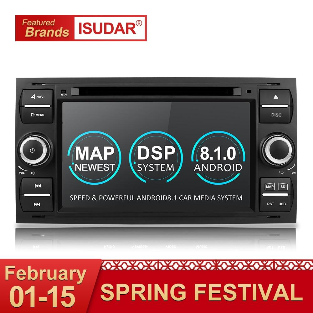 Isudar Voiture lecteur multimédia Android 8.1 GPS Autoradio 2 Din 7 Pouces Pour Ford/Mondeo/Focus/Transit/ c-MAX/S-MAX/Fiesta 2 GB RAM DVD