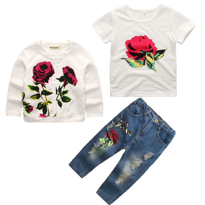 Image 2 - R&Z Girls Clothes Set 2019 Spring Autumn New Brand Fashion Rose  3pcs 2 9Y Kids long sleeves flower Children Clothing set k1-in Clothing Sets from Mother & Kids