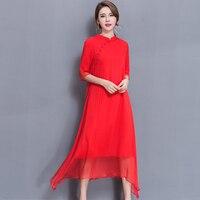 2017 Summer Women Long Dress China National Wind Improved Cheongsam Silk Dresses Red Black 1158