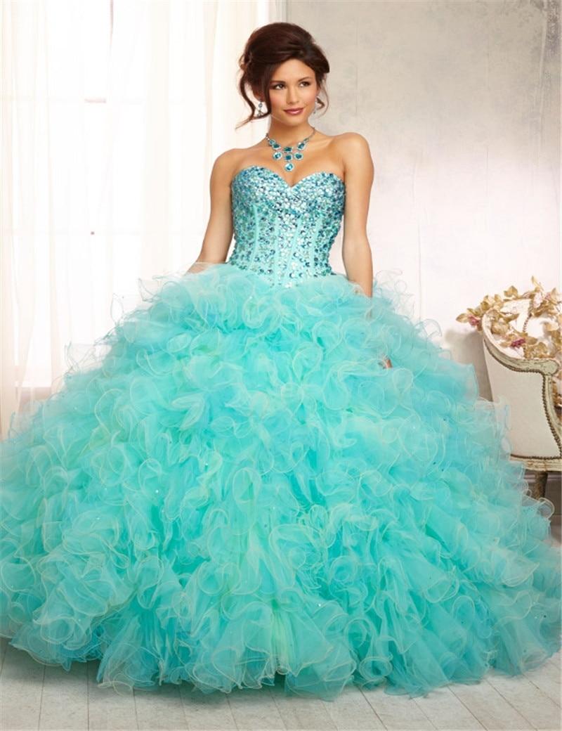 Auqa Green Princess Sweetheart Crystal With Jacket Sweet 16 Custom ...