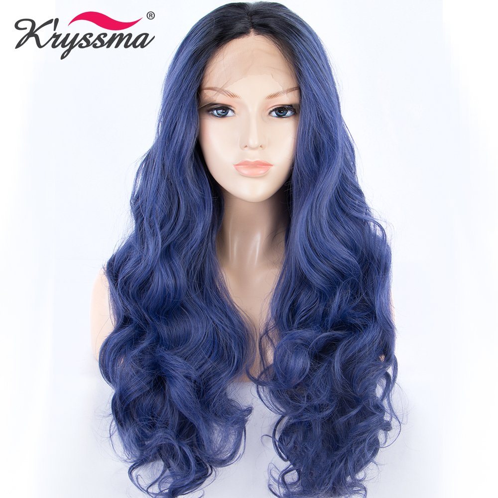 Synthetic None-lacewigs Sylvia Black To Blue Ombre Long Wavy Wigs Synthetic Lace Front Wigs Blonde Tips Heat Resistant Fiber Dark Roots Hair For Women Volume Large