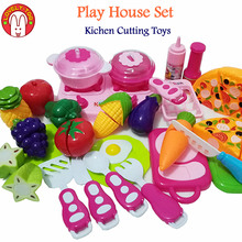 Lovely Too Food Fruit Vegetable Cutting Toys Olastic Plastic Kitchen Cooking Toy For Girls Children Educational Pretend Play Set