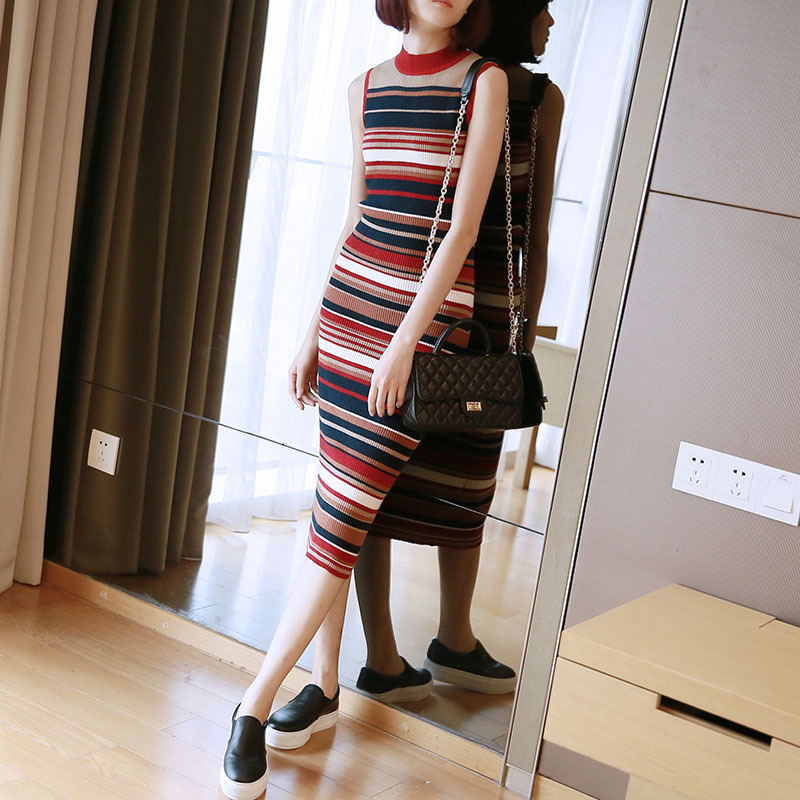 Women 39 s 2019 New Year Dress Autumn Spring Striped Sleeveless Sheath Sweater Dress Women Streetwear Office Casual Dresses Ladies in Dresses from Women 39 s Clothing