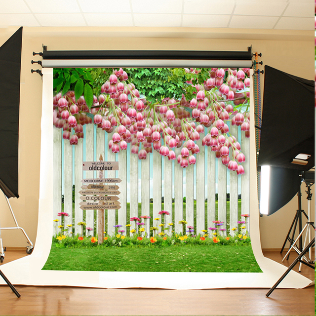 Wedding Photo Backdrops Pink Flowers Green Leaves Booth Backdrop White Fence Grass Background For Photographic