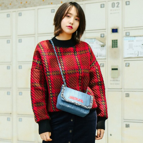 Winter Clothes Women 2017 England Style Vintage Plaid Thick Oversized Sweater Jersey Pullover Christmas Red sueter mujer 2229