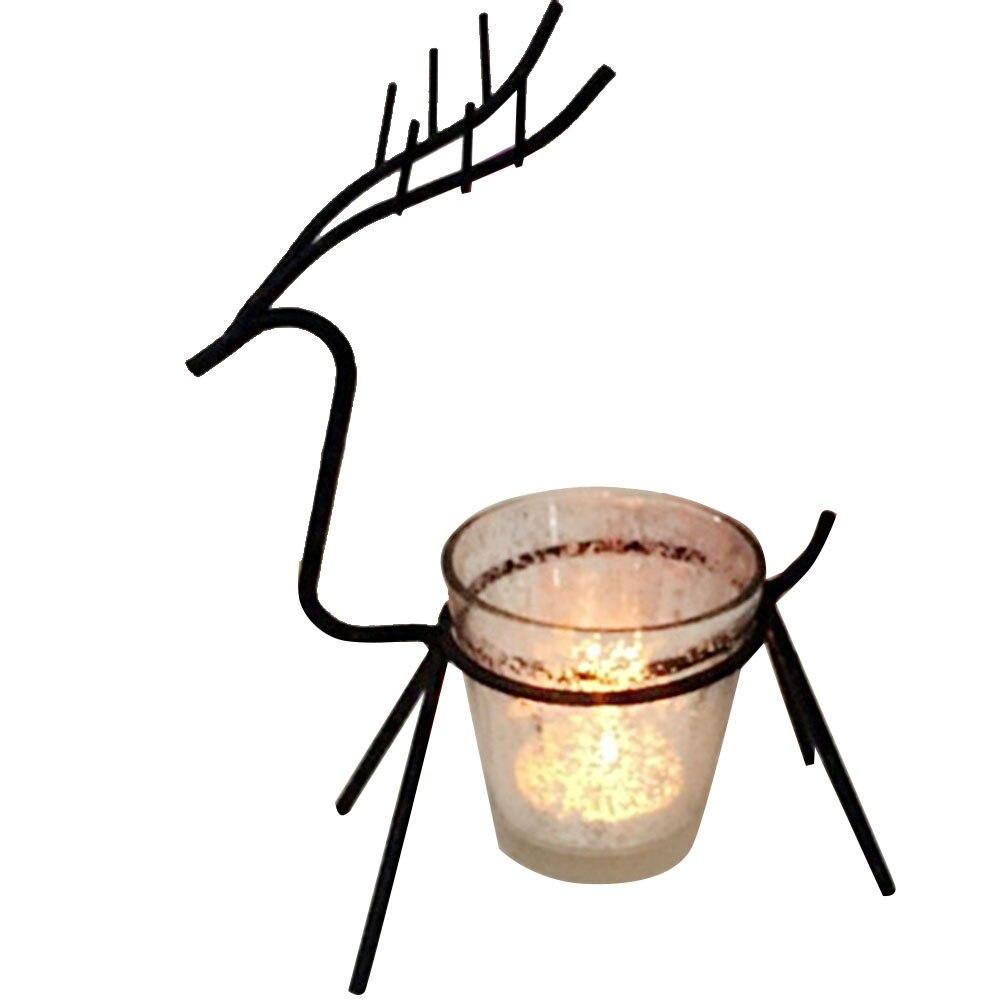 100% Kwaliteit Kerst Kaars Elanden Houder Ijzer Zwarte Kandelaar Tafel Licht Herten Stand Thuis Room Decor Kaars Stok