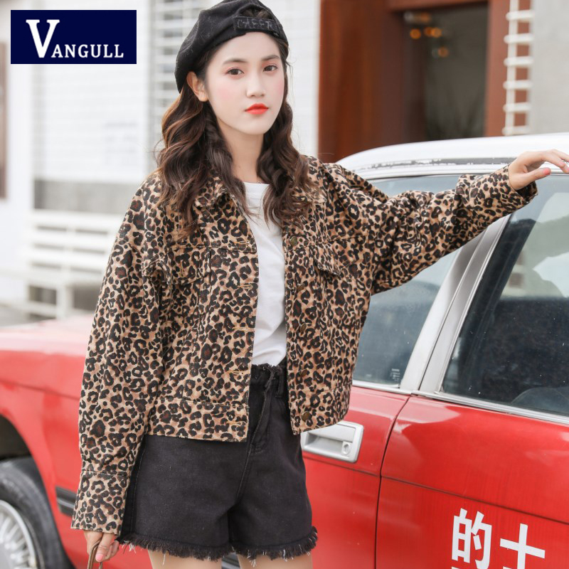 Vangull Spring Casual Women's Clothing Short Leopard   Basic     Jacket   Long Sleeve Turn-down Collar Single Breasted Slim Female Coats