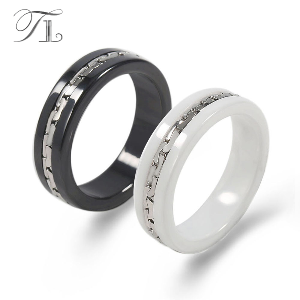 TL Fashion Ceramic Rings For Men Smooth Black&White Ceramic Surface Clipping Stainless Steel Splicing Gear Fashion Big Rings Men