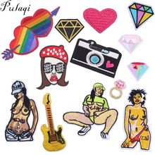 Pulaqi Sexy Girl Diamond Music Patches Iron On Clothes Camera Appliques Sewing On Jeans Stickers On Clothing DIY For Men Kids H(China)
