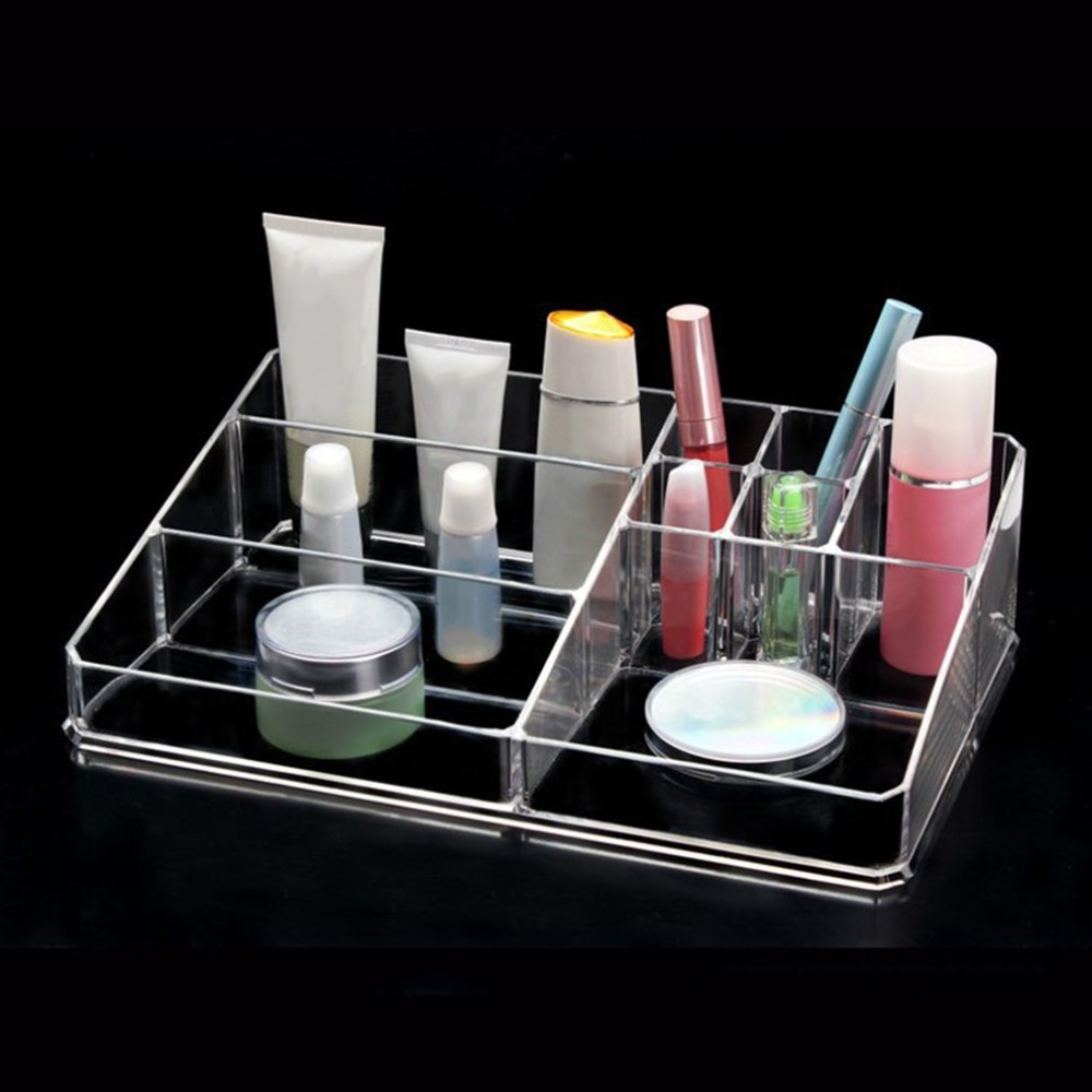 Acrylic Makeup Storage Box Display Case Jewelry Box Makeup Organizer Tool Transparent Multi-Slots Desktop Cosmetic Organizer