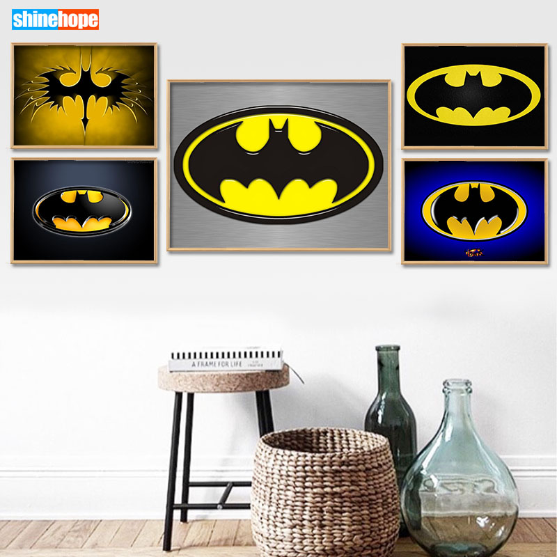 Batman <font><b>Logo</b></font> <font><b>Poster</b></font> Custom Canvas <font><b>Poster</b></font> Art Home Decoration Cloth Fabric Wall <font><b>Poster</b></font> Print Silk Fabric 30X45cm,40X60cm image