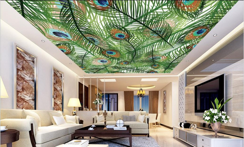 Custom 3d ceiling murals wallpaper peacock feather 3d for Ceiling mural wallpaper