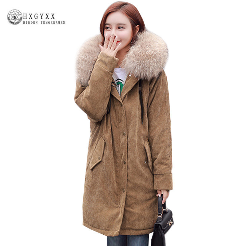 Winter Woman Corduroy Padded Jacket Loose Plus Size Fur Collar Quilted Coat 2017 Fashion Warm Hooded Parka Snow Outerwear Okb348 hot style three points children quilted loose coat