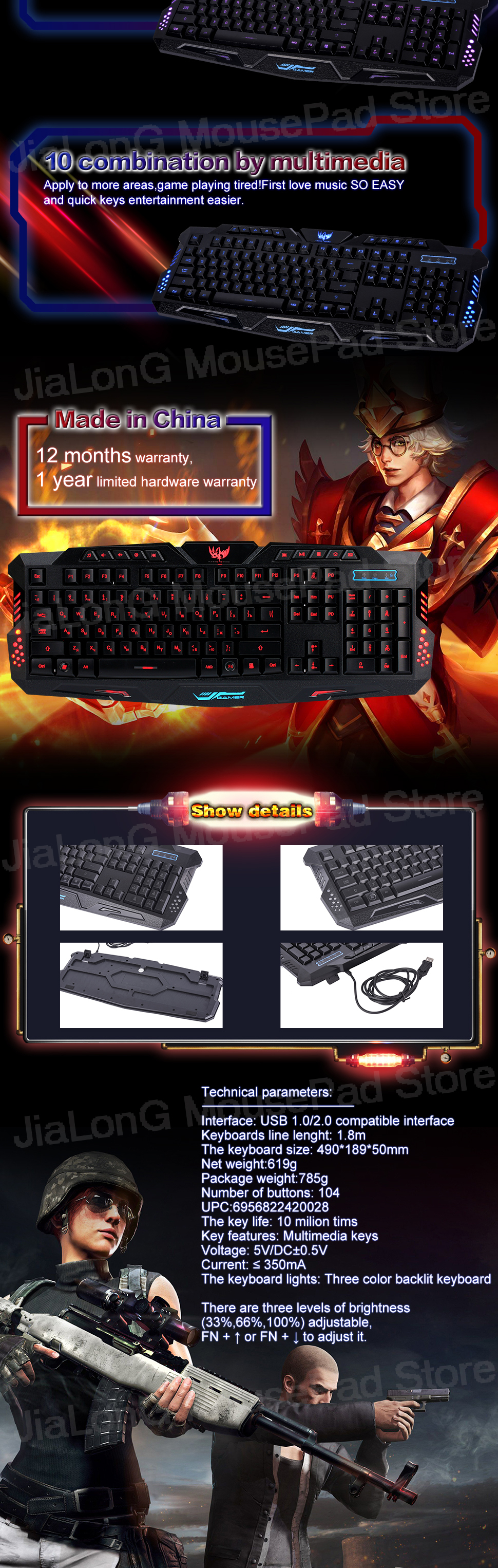 b033aa52b3a JiaLonG High Quality Tri-Color Backlit Computer Gaming Keyboard ...