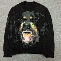 New 2017 VanMe Men High Quality Rottweiler Hoodies Hoody Hooded Sweatershirts Velvet Cotton Drake Thicken Fleece