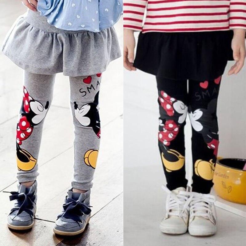 Print Mickey Minnie Mouse Pattern Baby Girl Leggings Skirt-pants Little Girls Winter Warm Legging Children Pants  2-7 Year
