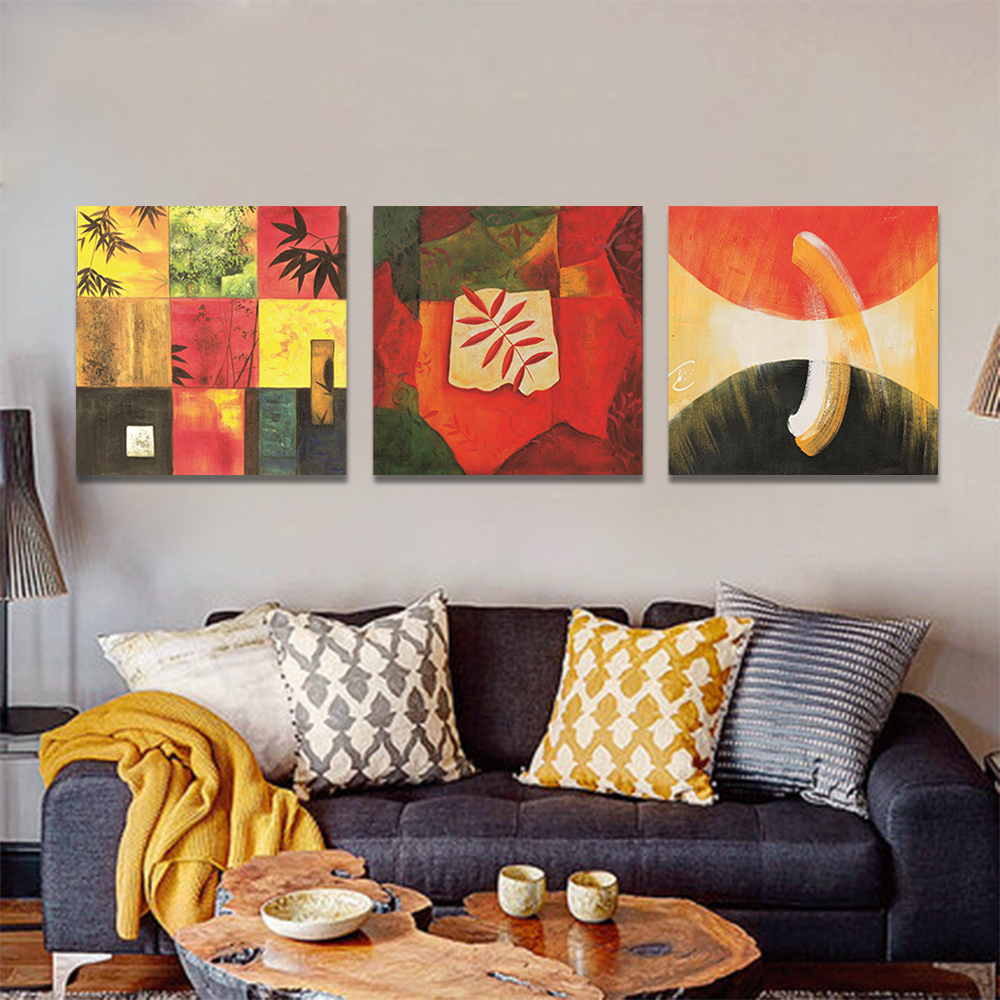 Unframed 3 pairs Abstract Canvas Painting Leaves Circula Wall Art Decor Prints Wall Pictures For Living Room Wall Art Decoration