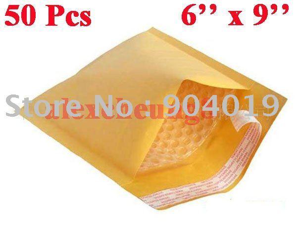 "50 Pcs Kraft Bubble Mailers Padded Envelopes Bags 6""X9"""