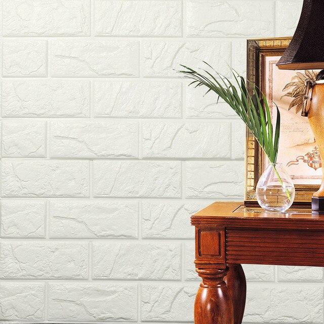 Modern PE Foam 3D Wallpaper DIY Wall Stickers Wall Decor Embossed Brick Stone 60 X 60 X 0.8cm 512