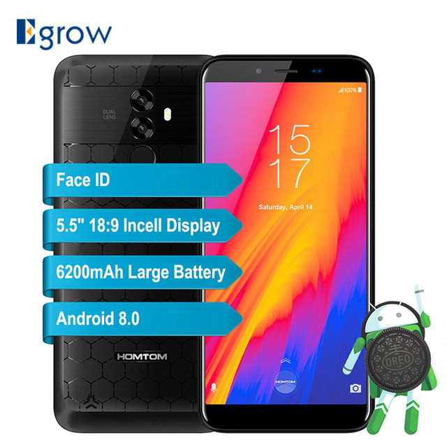 Homtom S99 Android 8.0 5.5'' 18:9 Full display Smartphone 4+64GB MT6750 Octa Core 6200mAh Battery Face ID Fingerprint Cell phone